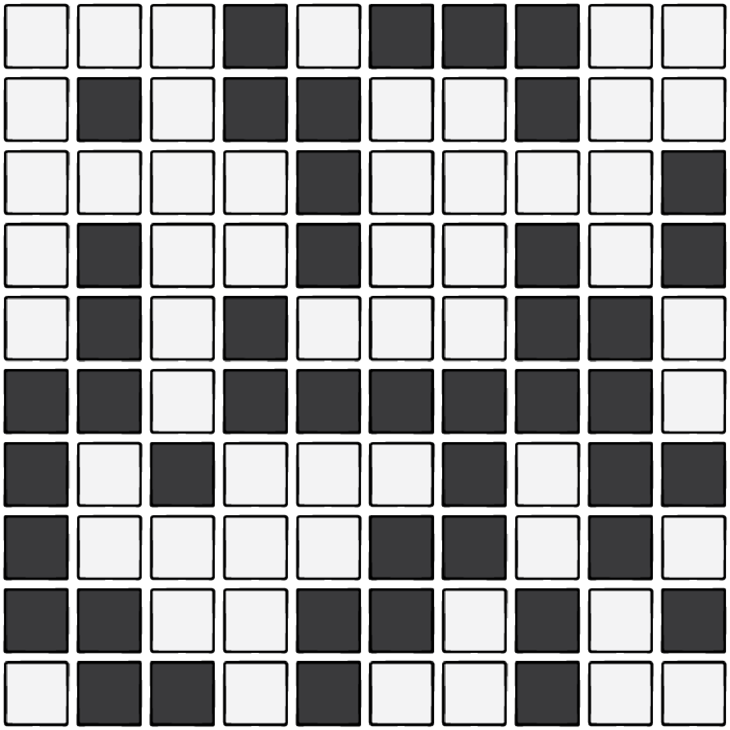 A 10x10 grid of black and white tiles.