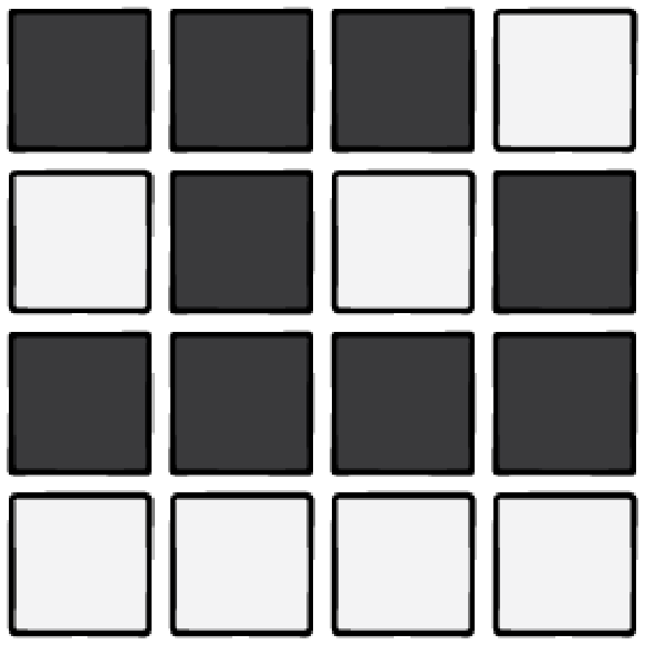 A 4x4 grid of black and white tiles.