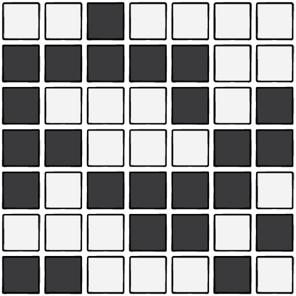 A 7x7 grid of black and white tiles.